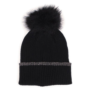 Black Silver Lurex Edge Pom Pom Beanie Hat Lurex Edge Cuff Beanie Hat Winter Hat, warm & cozy, this winter hat adds a glitzy sparkle to your wardrobe on windy chilly days. Classic, trendy & chic easy to match your ensemble. Perfect Gift Birthday, Christmas, Holiday, Stocking Stuffers, Anniversary, Valentine's Day, Loved One, Friend