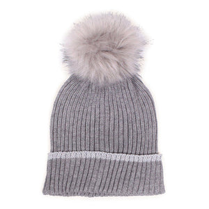 Gray Silver Lurex Edge Pom Pom Beanie Hat Lurex Edge Cuff Beanie Hat Winter Hat, warm & cozy, this winter hat adds a glitzy sparkle to your wardrobe on windy chilly days. Classic, trendy & chic easy to match your ensemble. Perfect Gift Birthday, Christmas, Holiday, Stocking Stuffers, Anniversary, Valentine's Day, Loved One, Friend