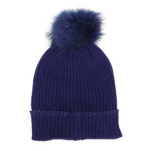 Navy Lurex Edge Pom Pom Beanie Hat Lurex Edge Cuff Beanie Hat Winter Hat, warm & cozy, this winter hat adds a glitzy sparkle to your wardrobe on windy chilly days. Classic, trendy & chic easy to match your ensemble. Perfect Gift Birthday, Christmas, Holiday, Stocking Stuffers, Anniversary, Valentine's Day, Loved One, Friend