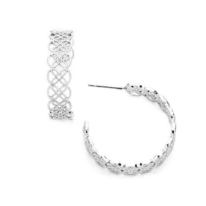 Delicate, Lightweight Filigree Quatrefoil Metal Open Hoop Earrings, are a great design to make your outfit unique and stylish. Pair well with work attire or casual outfit. Add a little detail to your look wiht this cute hoops. Great Birthday Gift, Anniversary, Everyday Wear