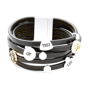 "Inspirational Message Multi Strand Bracelet ideal gift for the loved one in your life, ""Tree of Life"" is a symbol of a fresh start on life, positive energy, good health and a bright future.  Multi Strand with Metal Charms Bracelet available in a Black and Brown Charms: Engraved Tree Of Life Charm, Tree Size : 1.5"" H, 7.5"" L  Magnetic Closure"