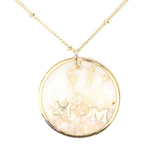 White Flower Pressed Mom Necklace, MOM Pressed Flower Clear Lucite Round Pendant Necklace, delicately sweet adds a touch of nature-inspired beauty to your look. Show mom how much you love her, coordinates with any ensemble, the perfect addition to every outfit. Perfect Birthday Gift, Mother's Day Gift, Anniversary Gift, Thank you Gift, Just Because Gift