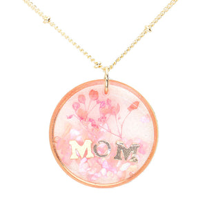 Pink Flower Pressed Mom Necklace, MOM Pressed Flower Clear Lucite Round Pendant Necklace, delicately sweet adds a touch of nature-inspired beauty to your look. Show mom how much you love her, coordinates with any ensemble, the perfect addition to every outfit. Perfect Birthday Gift, Mother's Day Gift, Anniversary Gift, Thank you Gift, Just Because Gift