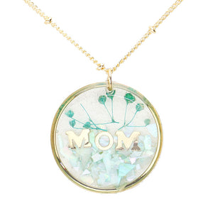 Mint Flower Pressed Mom Necklace, MOM Pressed Flower Clear Lucite Round Pendant Necklace, delicately sweet adds a touch of nature-inspired beauty to your look. Show mom how much you love her, coordinates with any ensemble, the perfect addition to every outfit. Perfect Birthday Gift, Mother's Day Gift, Anniversary Gift, Thank you Gift, Just Because Gift