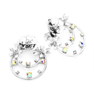 Crystal Embellished Floral Brass Metal Round Dangle Earrings