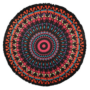 Multi Color Mandala Print Multi-Way Fringe Round Beach Throw Towel it's time to enjoy those summertime vibes with a fun day at the beach, vacation or by the poolside with your friends! Mandala Print Beach Towel Blanket Great Birthday Gift, Mother's day gift, Anniversary Gift, Just because, Beach Towel, Beach Throw, vacay ready