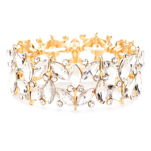 Marquise Crystal Rhinestone Stretch Bracelet Marquise Glass Evening Bracelet, marquise stone sparkle & shine, elegant stretch bracelet, easy to put on, take off, comfortable to wear, just the right touch to set off LBD. Special Occasion, Date night, Prom, Evening, Party, Gift, Sweet 16, Quinceañera, Anniversary, Birthday, Perfect Gift for Her