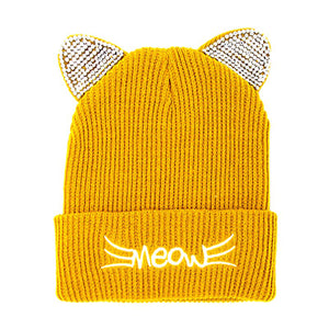 Soft, Cozy Meow Solid Stone Mustard Cat Ear Beanie Hat Mustard Cat Ear Hat Stone Hat Winter Hat, reach for this toasty hat to keep you incredibly warm when running out the door. Accessorize with this cat ear hat, it's the autumnal touch finish your outfit in style. Best Gift Birthday, Christmas, Night Out Cold Weather, Valentine's Day