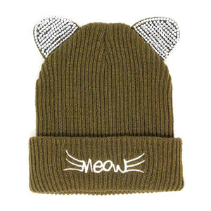 Soft, Cozy Meow Solid Stone Olive Green Cat Ear Beanie Hat Beige Cat Ear Hat Stone Hat Winter Hat, reach for this toasty hat to keep you incredibly warm when running out the door. Accessorize with this cat ear hat, it's the autumnal touch finish your outfit in style. Best Gift Birthday, Christmas, Night Out Cold Weather, Valentine's Day