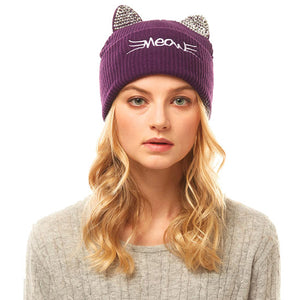Soft, Cozy Meow Solid Stone Purple Cat Ear Beanie Hat Purple Cat Ear Hat Stone Hat Winter Hat, reach for this toasty hat to keep you incredibly warm when running out the door. Accessorize with this cat ear hat, it's the autumnal touch finish your outfit in style. Best Gift Birthday, Christmas, Night Out Cold Weather, Valentine's Day