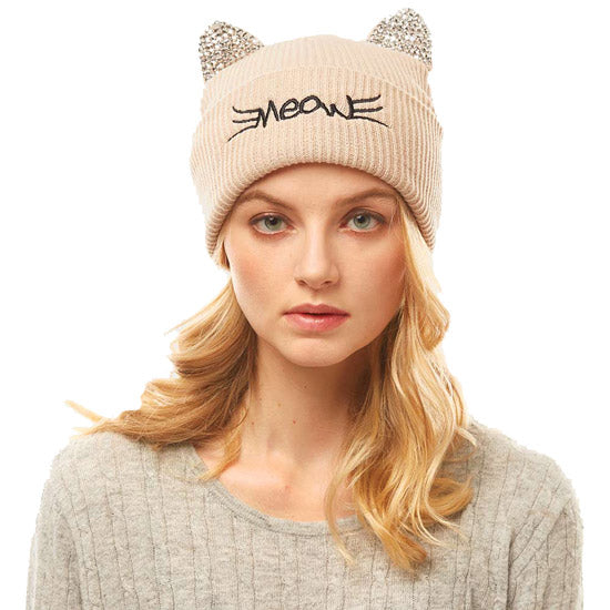 Soft, Cozy Meow Solid Stone Beige Cat Ear Beanie Hat Beige Cat Ear Hat Stone Hat Winter Hat, reach for this toasty hat to keep you incredibly warm when running out the door. Accessorize with this cat ear hat, it's the autumnal touch finish your outfit in style. Best Gift Birthday, Christmas, Night Out Cold Weather, Valentine's Day