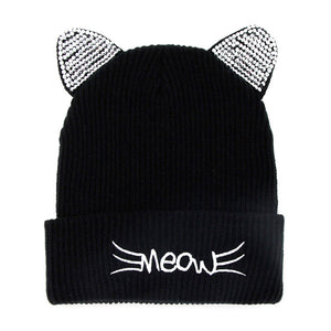 Soft, Cozy Meow Solid Stone Black Cat Ear Beanie Hat Black Cat Ear Hat Stone Hat Winter Hat, reach for this toasty hat to keep you incredibly warm when running out the door. Accessorize with this cat ear hat, it's the autumnal touch finish your outfit in style. Best Gift Birthday, Christmas, Night Out Cold Weather, Valentine's Day