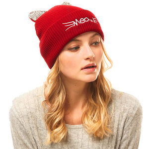 Soft, Cozy Meow Solid Stone Burgundy Cat Ear Beanie Hat Burgundy Cat Ear Hat Stone Hat Winter Hat, reach for this toasty hat to keep you incredibly warm when running out the door. Accessorize with this cat ear hat, it's the autumnal touch finish your outfit in style. Best Gift Birthday, Christmas, Night Out Cold Weather, Valentine's Day