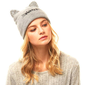 Soft, Cozy Meow Solid Stone Gray Cat Ear Beanie Hat Gray Cat Ear Hat Stone Hat Winter Hat, reach for this toasty hat to keep you incredibly warm when running out the door. Accessorize with this cat ear hat, it's the autumnal touch finish your outfit in style. Best Gift Birthday, Christmas, Night Out Cold Weather, Valentine's Day