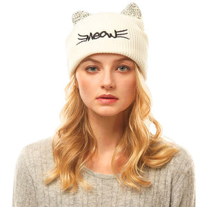 Soft, Cozy Meow Solid Stone Ivory Cat Ear Beanie Hat Ivory Cat Ear Hat Stone Hat Winter Hat, reach for this toasty hat to keep you incredibly warm when running out the door. Accessorize with this cat ear hat, it's the autumnal touch finish your outfit in style. Best Gift Birthday, Christmas, Night Out Cold Weather, Valentine's Day