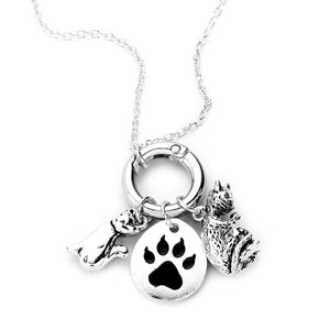 Metal Cat Paw Pendant Necklace Multi Charms Cats Paw Cat Necklace this beautiful cat themed dangle charms necklace are the perfect gift for the woman in our lives who love cats. Perfect gift for National Cat Day, Birthday, Anniversary, Christmas, Just Because Cat Lover, #catmom