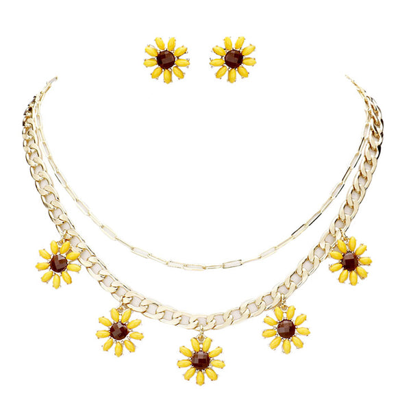Yellow Sunflower Jewelry Necklace & earrings SetAdd this delightful sunflower jewelry set to any outfit. Fabulous fashion & sleek necklace & earrings adds a pop of pretty color, coordinate with any ensemble from business casual to everyday wear. Perfect Birthday Gift, Mother's Day Gift, Anniversary Gift, Vacation Getaway, Thank you Gift, Easter Outfit