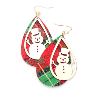 Red Tartan Faux Leather Earrings Metal Snowman Snowflake Print Faux Leather Earrings Snowman Earrings Christmas Earrings perfect for the festive season, embrace into the Christmas spirit with these holiday earrings, add cheer to your ears, they are bound to cause a smile or two Perfect Gift December Birthday, Christmas, Stocking Stuffer, Secret Santa, BFF