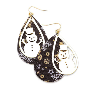 Snowflakes Faux Leather Earrings Metal Snowman Snowflake Print Faux Leather Earrings Snowman Earrings Christmas Earrings perfect for the festive season, embrace into the Christmas spirit with these holiday earrings, add cheer to your ears, they are bound to cause a smile or two Perfect Gift December Birthday, Christmas, Stocking Stuffer, Secret Santa, BFF