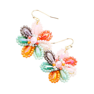 Multi Beaded Flower Earrings, jewelry that fits your lifestyle adding a pop of pretty color. Enhance your attire with this vibrant beautiful modish daisy dangle earrings. Perfect Birthday Gift, Mother's Day Gift, Anniversary Gift, Thank you Gift, complete your Easter Ensemble, Daisy Jewelry, Floral Earrings, Flower Earrings