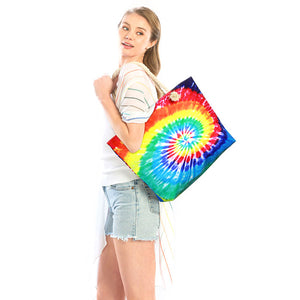Multi Color Tie Dye Beach Bag Tote Bag Vibrant Beach Tote Bag great whether you are out shopping, going to the pool or beach, this bright tote bag is the perfect accessory. Spacious enough for carrying all your essentials. Great Beach, Vacation, Pool, Birthday Gift, Anniversary Gift, Chic Multi Tie Dye Beach Bag, Soft Rope Handles The Must Have Accessory!