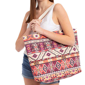 Multi Coral Aztec Beach Bag great if you are out shopping, going to the pool or beach, this brown aztec tote bag is the perfect accessory. Spacious enough for carrying all your essentials. Great for Beach, Vacation, Birthday Gift, Mother's Day Gift, Anniversary Gift, Aztec Shopper Bag, Graduation Gift, The Must Have Accessory!