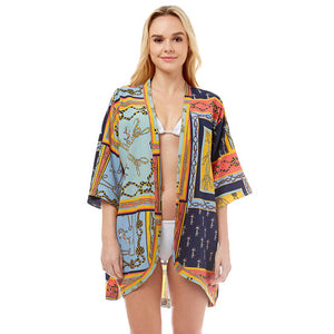 Accent your look with this soft lightweight Anchor Kimono, wear over your favorite blouse & slacks for a chic stylish look, use over your bathing suit and enjoy the beach or pool. Perfect Birthday Gift, Mother's Day Gift, Anniversary Gift, Vacation Getaway, Thank you Gift, Navy Nautical Cover-Up Kimono, Navy Anchor Cover-Up