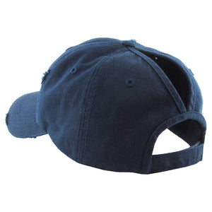 Navy Distressed Baseball Cap, Navy Vintage Ponytail Baseball Cap, comfy vintage cap great for a bad hair day, pull your bun or ponytail thru the back opening, great for keeping your hair away from face while exercising, running, playing sports or just taking a walk. Perfect Birthday Gift, Mother's Day Gift, Anniversary Gift, Thank you Gift, Graduation