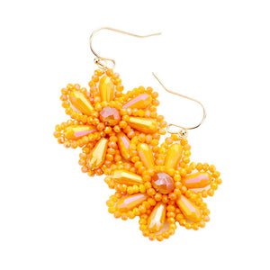 Orange Beaded Flower Earrings, jewelry that fits your lifestyle adding a pop of pretty color. Enhance your attire with this vibrant beautiful modish daisy dangle earrings. Perfect Birthday Gift, Mother's Day Gift, Anniversary Gift, Thank you Gift, complete your Easter Ensemble, Daisy Jewelry, Floral Earrings, Flower Earrings