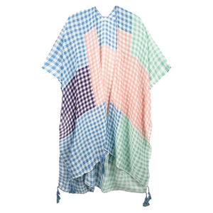 Pink Beach, Poolside chic made easy with this lightweight Gingham Check Cover Up featuring relaxed silhouette, great over your swimsuit or wear over your favorite blouse & slacks, Perfect Birthday Gift, Anniversary Gift, Mother's Day Gift, Lightweight Cover-up, Fun Beachwear, Gingham Check Kimono, Gingham Check Beachwear