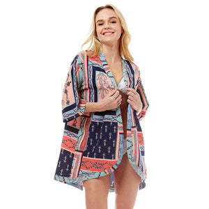 Accent your look with this soft lightweight Anchor Kimono, wear over your favorite blouse & slacks for a chic stylish look, use over your bathing suit and enjoy the beach or pool. Perfect Birthday Gift, Mother's Day Gift, Anniversary Gift, Vacation Getaway, Thank you Gift, Pink Nautical Cover-Up Kimono, Pink Anchor Cover-Up Kimono