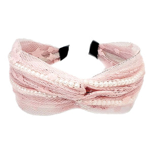 Pink Mesh Headband with Pearls, Pearl Mesh Headband Pearl Accent Headband Pearl Headband the perfect amount of pearls to dress up your tresses with this fabric design, wide band and knotted top. Be the ultimate trendsetter wearing this chic headband with all your stylish outfits! Perfect Birthday Gift, Mother's Day Gift, Prom, Graduation Gift