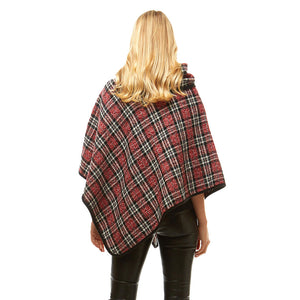 red Plaid Poncho Winter Poncho Plaid High Neck Buttons Poncho Designer Inspired Poncho Plaid Ruana Sweater