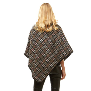brown Plaid Poncho Winter Poncho Plaid High Neck Buttons Poncho Designer Inspired Poncho Plaid Ruana Sweater