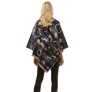 Fun Playing Navy Cats Plaid Poncho Fringe Navy Cat Plaid Ruana Cat Mom Poncho Wrap, ensures your upper body stays perfectly toasty when the temperature drops, gently nestles around the neck, feels so comfortable to wear, eye catcher, will be your favorite accessory. Perfect Gift Cat Lover, Birthday, Christmas, Valentine's Day