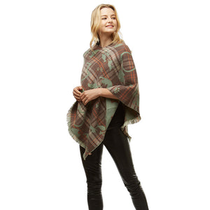 Fun Playing Taupe Cats Plaid Poncho Fringe Taupe Cat Plaid Ruana Cat Mom Poncho Wrap, ensures your upper body stays perfectly toasty when the temperature drops, gently nestles around the neck, feels so comfortable to wear, eye catcher, will be your favorite accessory. Perfect Gift Cat Lover, Birthday, Christmas, Valentine's Day