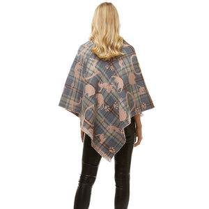 Fun Playing Gray Cats Plaid Poncho Fringe Gray Cat Plaid Ruana Cat Mom Poncho Wrap, ensures your upper body stays perfectly toasty when the temperature drops, gently nestles around the neck, feels so comfortable to wear, eye catcher, will be your favorite accessory. Perfect Gift Cat Lover, Birthday, Christmas, Valentine's Day