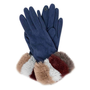 Plush Navy Faux Suede Multi Color Faux Fur Cuff Fleece Lining Smart Touch Gloves Faux Fur  Gloves comfy, warm fleece lining, touchscreen compatible fingertip for practicality, you can answer emails without getting frostbite, cozy faux fur cuff are the perfect blend. Perfect Gift Birthday, Christmas, Holiday, Anniversary, etc