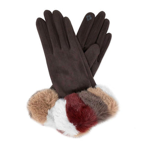 Plush Black Faux Suede Multi Color Faux Fur Cuff Fleece Lining Smart Touch Gloves Faux Fur  Gloves comfy, warm fleece lining, touchscreen compatible fingertip for practicality, you can answer emails without getting frostbite, cozy faux fur cuff are the perfect blend. Perfect Gift Birthday, Christmas, Holiday, Anniversary, etc