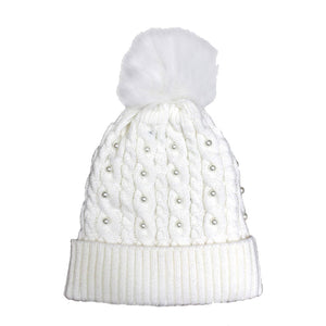 Pearl White Knitted Pom Pom Beanie Hat White Pom Pom Faux Sherpa Lined Hat Beanie reach for this classic toasty hat to keep you incredibly warm in the chilly winter weather, the wintry touch finish to your outfit. Perfect Gift Birthday, Christmas, Holiday, Anniversary, Stocking Stuffer, Secret Santa, Valentine's Day, Loved One, BFF