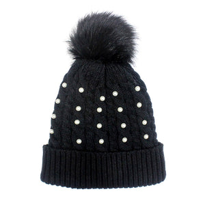 Pearl Black Knitted Pom Pom Beanie Hat Black Pom Pom Faux Sherpa Lined Hat Beanie reach for this classic toasty hat to keep you incredibly warm in the chilly winter weather, the wintry touch finish to your outfit. Perfect Gift Birthday, Christmas, Holiday, Anniversary, Stocking Stuffer, Secret Santa, Valentine's Day, Loved One, BFF