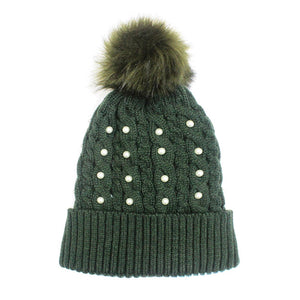 Pearl Olive Knitted Pom Pom Beanie Hat Olive Pom Pom Faux Sherpa Lined Hat Beanie reach for this classic toasty hat to keep you incredibly warm in the chilly winter weather, the wintry touch finish to your outfit. Perfect Gift Birthday, Christmas, Holiday, Anniversary, Stocking Stuffer, Secret Santa, Valentine's Day, Loved One, BFF