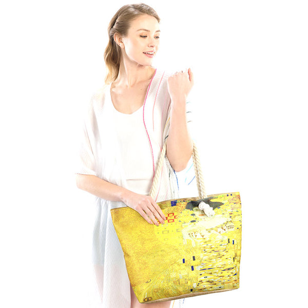 Portrait of Adele Bloch Bauer I by Gustav Klimt Print Beach Tote Bag Vibrant Beach Bag if you are out shopping, at the pool or beach, this bright tote bag is spacious enough for carrying all your essentials. Birthday Gift, Anniversary Gift, Portrait of Adele Bloch Bauer I Print Beach Tote Bag Shopper Bag, Mother's Day Gift, Thank you Gift, Comfy Rope Handles The Must Have Accessory!