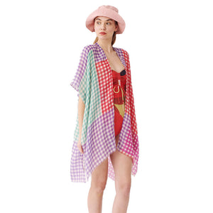 Purple Beach, Poolside chic made easy with this lightweight Gingham Check Cover Up featuring relaxed silhouette, great over your swimsuit or wear over your favorite blouse & slacks, Perfect Birthday Gift, Anniversary Gift, Mother's Day Gift, Lightweight Cover-up, Fun Beachwear, Gingham Check Kimono, Gingham Check Beachwear