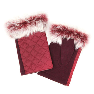 Burgundy Quilted Fingerless Faux Fur Gloves Burgundy Quilted Gloves Burgundy Faux Fur Fingerless Mittens, gives your look so much eye-catching texture with these quilted muffs on a cozy faux fur, very fashionable, attractive, cute looking in winter season. Perfect Gift Birthday, Christmas, Holiday, Anniversary, Wife, Mom, Sis, Loved One, BFF etc