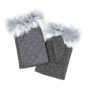 Gray Quilted Fingerless Faux Fur Gloves Gray Quilted Gloves Gray Faux Fur Fingerless Mittens, gives your look so much eye-catching texture with these quilted muffs on a cozy faux fur, very fashionable, attractive, cute looking in winter season. Perfect Gift Birthday, Christmas, Holiday, Anniversary, Wife, Mom, Sis, Loved One, BFF etc