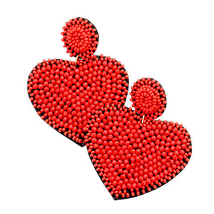 Red Seed Bead Heart Earrings, spring is around the corner, bring pop of color to your day & make a statement with these hand-crafted to perfection heart earrings. Perfect Birthday Gift, Valentine's Day Gift, Anniversary Gift, Loved One Gift,  Mother's Day Gift, Seed Bead Earrings, Handcrafted Earrings, Just Because Gift