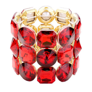 Red Crystal Bracelet Glass Stone Stretch Bracelet exquisite, sparkling, dare to dazzle with this bejeweled bracelet, just the right fit for outfit from T-shirt to a cocktail Dress. Ideal piece for any special occasion, wedding, prom, night out. Perfect Birthday Gift, Valentine's day Gift, Mother's Day Gift, Love you Gift