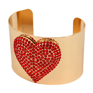 Red Heart Bracelet Embellished Rhinestone Heart Wide Cuff Bracelet Crystal Heart Cuff Bracelet, this Bling Bracelet will put the spotlight on you. Adds a stylish glow to any ensemble. Plenty of crystals for extra SHINE! Perfect Birthday Gift, Valentine's day Gift, Mother's Day Gift, Galentine's Gift, Love you Gift, Crystal Heart Cuff