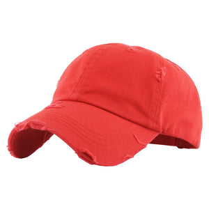 Red Distressed Baseball Cap, Red Vintage Ponytail Baseball Cap, comfy vintage cap great for a bad hair day, pull your bun or ponytail thru the back opening, great for keeping your hair away from face while exercising, running, playing sports or just taking a walk. Perfect Birthday Gift, Mother's Day Gift, Anniversary Gift, Thank you Gift, Graduation